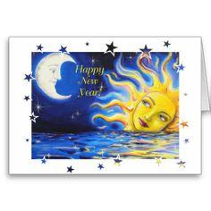 Happy New Year Celestial Sun and Moon Face Card Moon Face, Sun Art, Bohemian Art, Gods And Goddesses, Stars And Moon, Happy New Year, Smudging, Paper Texture, Cheers