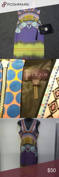 Hale Bob Multicolor Dress Gorgeous!!! Medium Hale Bob Multicolor Dress.  Zip Back. Fun colors. Pink . Blue. Seafoam. Coral. Lime. Black. White. Hale Bob Dresses Midi