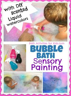 Painting our bath bubbles is one of our favorite ways to bring art to bath time. This time we added scent for even more FUN and exploration!