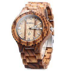 Amazon.com: BEWELL ZS Men Retro Wooden Bangle Quartz Watch with Calendar Display (Brown): Watches