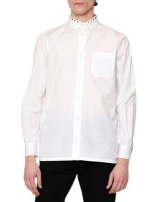 VALENTINO Rockstud-Collar Long-Sleeve Sport Shirt, White. #valentino #cloth #