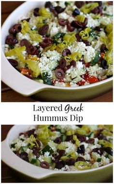 This Layered Greek Hummus Dip is a Greek inspired spin on the classic dip. Yummy Appetizers, Appetizers For Party, Appetizer Recipes, Greek Hummus Dip, Greek Dip, Vegetarian Recipes, Cooking Recipes, Healthy Recipes, Detox Recipes