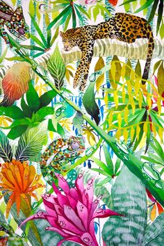 'Jungle Imaginings' close up IV, Kate Morgan RI Studio, all works are ©KateMorganStudio and can not be reproduced in any form without consent of the artist. Tropical Design, Tropical Pattern, Tropical Art, Illustrations, Illustration Art, Jungle Art, Jungle Pattern, Atelier D Art, Grafik Design
