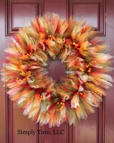 Rich Autumn Tulle Wreath by SimplyTutu on Etsy, $40.00