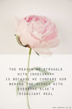 The reason we struggle with insecurity is because we compare our behind the scenes with everyone else's highlight reel I'm going to start this post with a hashtag that I've created...