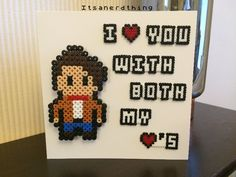 """Dr Who inspired """"I love you with both my hearts"""" handmade card with detachable Dr Who magnet - perler / hama beads by Itsanerdthing"""