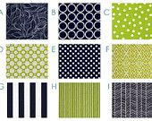 Custom Crib Bedding - Modern - Navy and Lime - Modern Baby Bedding Set - Navy Blue and Lime Green