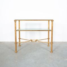 Rene Drouet Attributed Gilt Iron Console Table, France, circa 1950 Iron Console Table, Glass Tray, Mid Century Modern Design, Hollywood Regency, Midcentury Modern, Bold Colors, Brass, France, Gallery