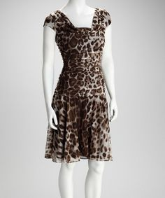 Take a look at this Black & Gray Leopard Ruched Dress by On Trend: Women's Apparel on #zulily today!
