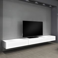 simple modern floating tv cabinet comes with gray stained wall design and gray wall painting