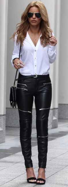 Ellie Shirt - Ivy Revel Leather Biker Trousers - Zara