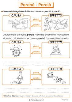Perché - Perciò: Schede Didattiche per la Scuola Primaria | PianetaBambini.it Italian Language, Learning Italian, Elementary Science, Story Time, Problem Solving, Kindergarten, Teaching, Writing, School