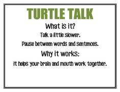 These posters are good visuals for children on your stuttering caseload. Speech Language Therapy, Speech Language Pathology, Speech And Language, Therapy Tools, Therapy Ideas, Fluency Practice, Light Touch, Speech Therapy Activities, Turtle