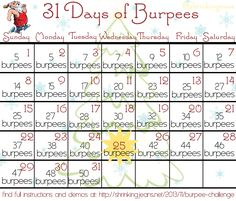 31 Days of Burpees: A Monthly Workout Calendar #fitness #exercise #workoutcalendar