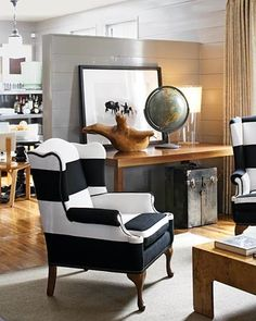 Black and white -by Interior designer Kimberely Renner -Fabric of chair pieced together to create stripe