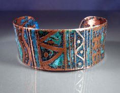 10% off for our Pinterest friends! Use coupon code PINTEREST at checkout! -- READY to SHIP Jambalaya Etched Copper Cuff Bracelet Size Medium, OOAK