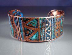 READY to SHIP Jambalaya Etched Copper Cuff di studiovdesigns