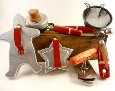 Vintage Red Handled Kitchen Utensils and Cookie Cutters