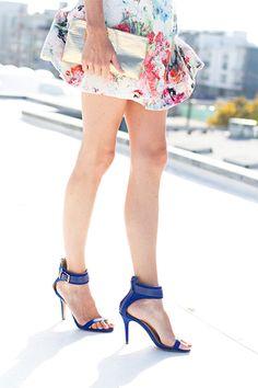 Pair a flouncy skirt with a bright sandal.
