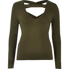 Kaki top met bandjes - Effen T-shirts/hemdjes - t-shirts/hemdjes - tops - dames
