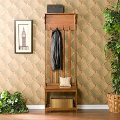 This Hall Tree Entry Bench offers four double hanging hooks and one shelf in a mission oak finish. Offers 4 double hanging hooks and 1 shelf, Mission oak finish. Hallway Tree Bench, Entry Bench, Oak Bench, Garage Bench, Interior Design Minimalist, Minimalist Decor, Minimalist Kitchen, Minimalist Living, Minimalist Bedroom