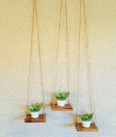 3 Golden Oak stained Reclaimed floating rope wood swing plant shelf set-floating shelf set-shelving-home & living-hanging planters-planters