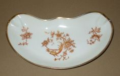 Vintage Limoges France Rare Bone Dish Shaped Ashtray Gold Leaf Design Porcelain