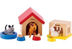 Hape Family Pets Wooden Doll House Animals - Toys 4 My Kids Wooden Dollhouse, Wooden Dolls, Dollhouse Furniture, Hape Toys, Thing 1, Pet Rabbit, Wooden Puzzles, Toy Store, Happy Dogs