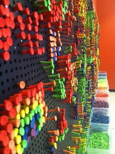 Your Creativity to a Tee Colored golf tees in peg board- kind like a light bright without the light.Colored golf tees in peg board- kind like a light bright without the light. Maker Fun Factory Vbs, Instalation Art, Interactive Walls, Thinking Day, Art Classroom, Kid Spaces, New Wall, Elementary Art, Community Art