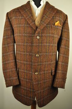 Stunning Harris Tweed jacket in a textured 2 tone red brown with blue, black and yellow check. The jacket has a 3 button front, single vent rear and is fully lined. The condition of the jacket is Excellent. | eBay!