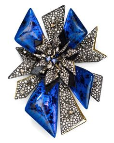 Alexis Bittar Two Tone Crystal Encrusted Pin