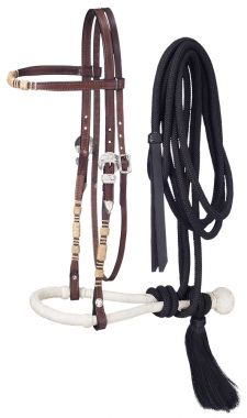 """Royal King Futurity Show Bosal Set 5//8/"""" Rawhide Core and Braided Mecate Rein"""