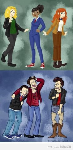If the companions and the Doctors switched clothes haha! I'm pretty sure if 9 and 10 ever got together with 11, they would definitely give him a hard time.