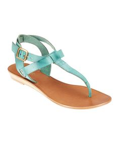 Strut in style with this sleek and savvy sandal. In addition to a lovable leather-blend construction, a pop of color complements any ensemble. T Strap Sandals, Women's Shoes Sandals, Leather Sandals, Shoe Boots, Shoe Bag, Shoe Closet, Dream Shoes, Crazy Shoes, Me Too Shoes