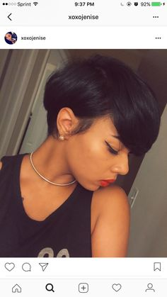 pinterest @ogxlovely Black Hair, Short Hair Styles, Hair Cuts, Pearl Earrings, Hair Black Hair, Bob Styles, Haircuts, Pearl Studs, Short Haircuts