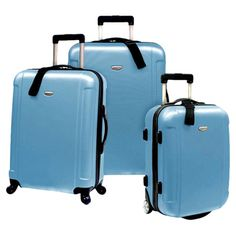 3-Piece Miami Rolling Suitcase Set in Arctic Blue at Joss & Main