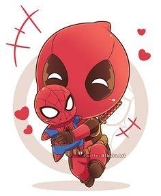 Chibi Deadpool by Iksia on DeviantArt Deadpool Chibi, Deadpool X Spiderman, Cute Deadpool, Chibi Marvel, Marvel Art, Marvel Heroes, Deadpool Kawaii, Deadpool Wallpaper, Marvel Wallpaper