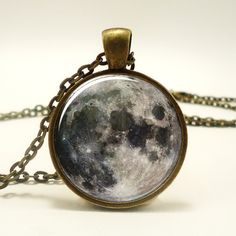 Full Moon Necklace, Space Art Pendant, Bronze Moon Jewelry (0439B1IN) ($14) ❤ liked on Polyvore featuring jewelry, necklaces, accessories, bronze jewelry, bronze necklace, pendants & necklaces, pendant jewelry and bronze pendant