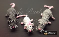 "Monster Tail and Round Knifty Knitter. The ""Rippos"" - Dad. Mom and Baby ""Hippo-Rats."" Designed and loomed by Coupon Cindy (Cindy Rushton). 07/11/14. Cindy said: ""...here's the whole family!"""