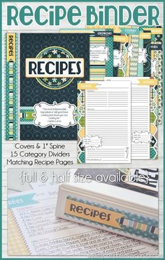 NEW Recipe Binder Printables + a GIVEAWAY! comes in either half size or full size, perfect for putting in a binder with sheet protectors. Lots of category pages to organize your recipes + super cute design. Cookbook Recipes, New Recipes, Cookbook Ideas, Cookbook Display, Fixate Cookbook, Homemade Cookbook, Cookbook Storage, Cookbook Design, Family Recipes
