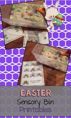 Printables for an Easter themed sensory bin. Includes three printable acitivies: sorting pictures, matching letters and matching numbers.