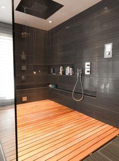 Contemporary Master Bathroom with Rain shower, Handheld showerhead, Master bathroom, frameless showerdoor, Teak Shower Tray
