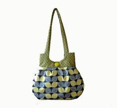 ...Handmade Yellow and Gray Sweet Pea Tote Purse Handbag by craftcrazy4u... $35.00