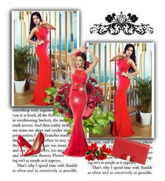 """""""Red Lace Embellished Mermaid Evening Dress"""" by chenzoe ❤ liked on Polyvore"""