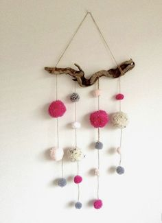 Driftwood Pom Pom Mobile Pink Grey/gray and by HelCatEmporium Pom Pom Mobile, Hanging Mobile, Home Crafts, Diy And Crafts, Pom Pom Flowers, Pom Pom Crafts, Sisal, Mobiles, Driftwood