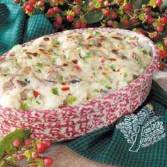 Festive Cauliflower Casserole.  My mom fixed this once when I was younger and I have been searching for this recipe ever since!  She originally found it in a Taste of Home Magazine.