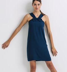 robe bleu canard bretelles noeud Promod 40E