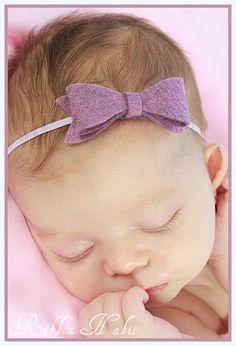 Pretty Purple Soft Felt Baby Girl Bow Skinny by Ribbonhabit