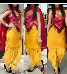 Unique Informal Put on Yellow Printed ZigZag Patiala Go well with (Yellow) - Suit World Patiala Pants, Punjabi Salwar Suits, Designer Punjabi Suits, Indian Designer Wear, Patiala Salwar, Bandhani Saree, Punjabi Dress, Patiala Suit Designs, Salwar Designs