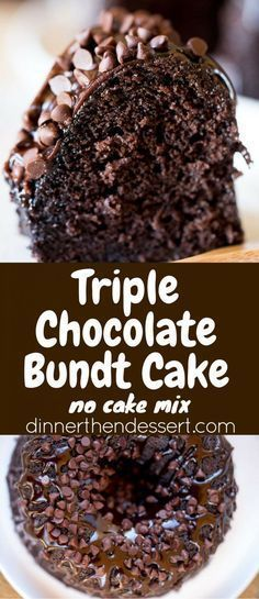 Triple Chocolate Bundt Cake with the richest chocolate cake made from scratch… - Always Room for Dessert - Gateau Matilda Chocolate Cake, Beattys Chocolate Cake, Too Much Chocolate Cake, Chocolate Cake From Scratch, Cake Recipes From Scratch, Delicious Chocolate, Chocolate Desserts, Delicious Desserts, Dessert Recipes